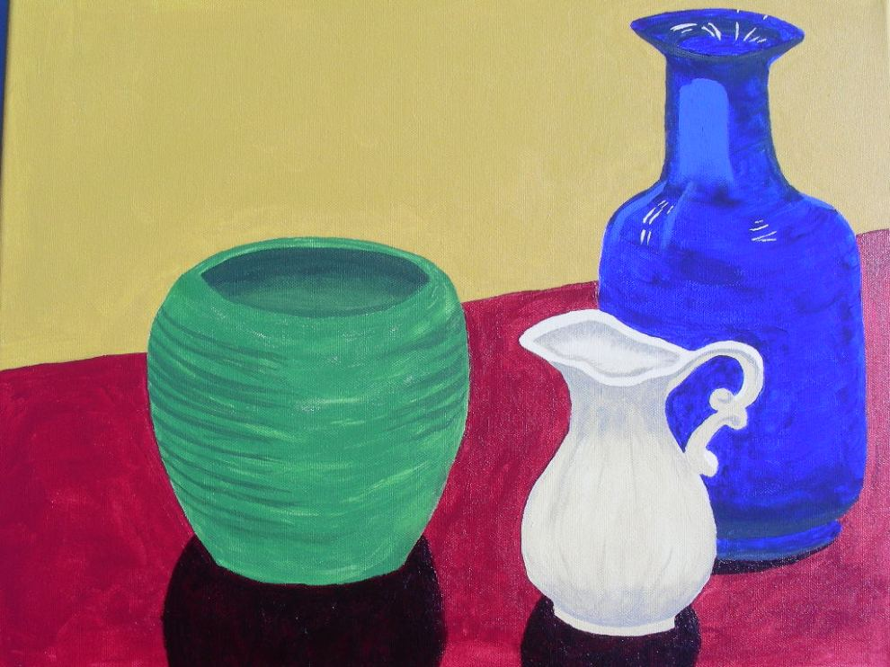"Still Life #1 from my painting class, acrylic on 14"" x 18"" canvas"