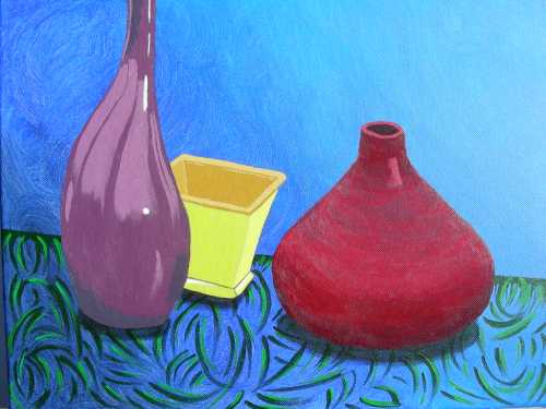 """Still Life #2 from my painting class, acrylic on 14"""" x 18"""" canvas"""
