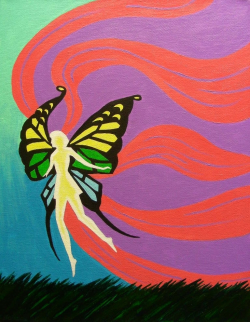 """Fairy, a Christmas gift for my daughter, acrylic on 11"""" x 14"""" canvas"""