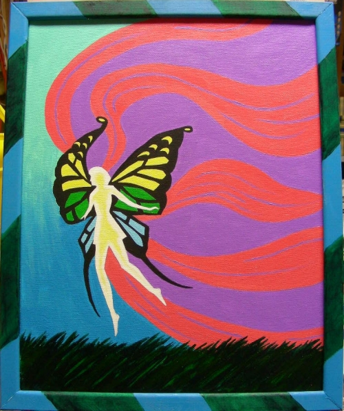 "Fairy, framed, a Christmas gift for my daughter, acrylic on 11"" x 14"" canvas"