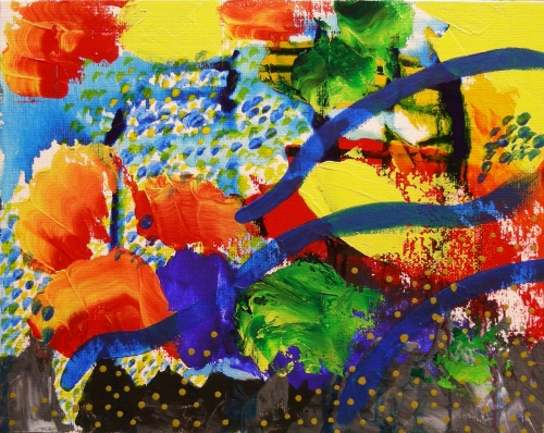"""Cambrian Explosion, small painting 12, acrylic on 8""""x10"""" canvas board, March 2012"""