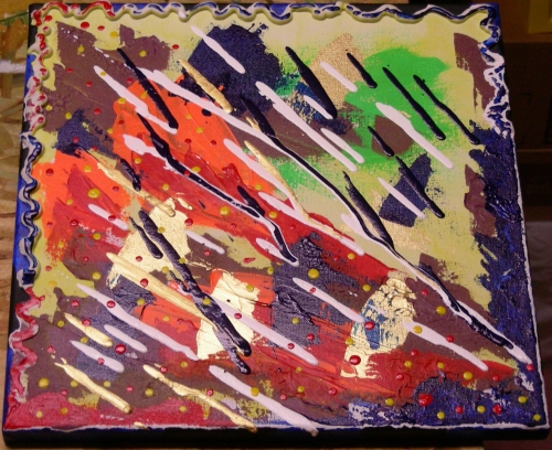 Alizarin Yuck 1, acrylic on 12x12 canvas, December 6, 2012.  Oooh!  Shiny!