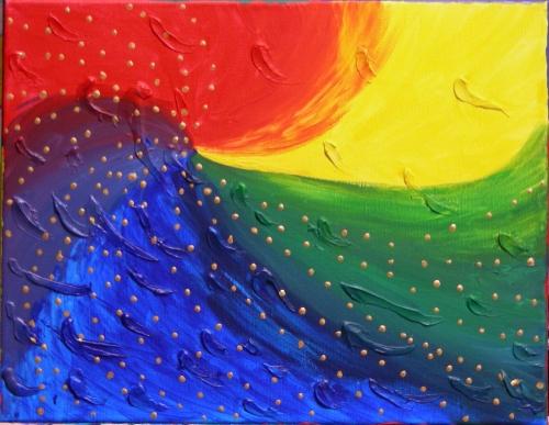 """Spectrum, acrylic and latex caulk on 11"""" x 14"""" canvas, January 20, 2013"""